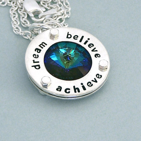 Dream Believe Achieve - Sterling Silver and Swarovski Crystal Necklace