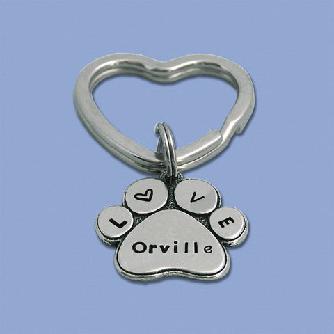 Personalized Pewter Paw Print Key Ring