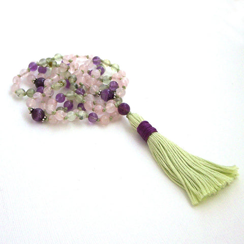 Rose Quartz Prehnite and Amethyst Hand Knotted Petite 108 Mala