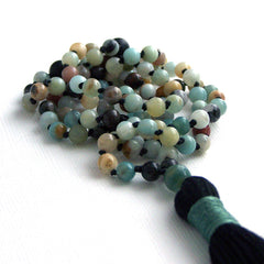 Black Gold Amazonite Hand Knotted Petite 108 Mala