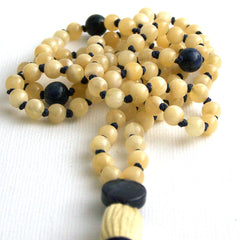 Calcite and Dumortierite Hand Knotted Petite 108 Mala