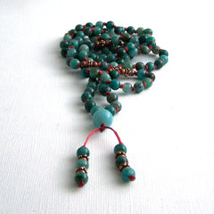 Cuprite and Copper Hand Knotted Petite 108 Mala