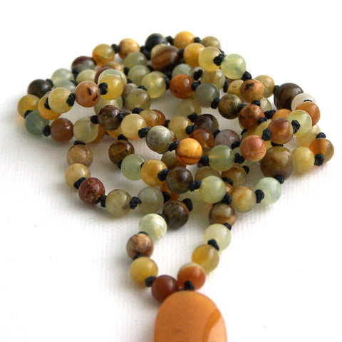 Flower Jade Petite Hand Knotted 108 Mala