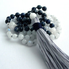 Moonstone and Dumortierite Hand Knotted Petite 108 Mala