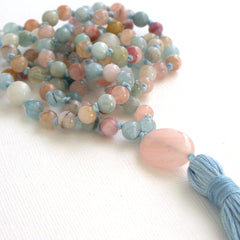 Morganite Moonstone Rose Quartz Hand Knotted Petite 108 Mala