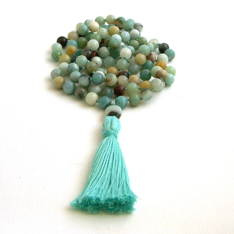 Black Gold Amazonite Hand Knotted 108 Mantra Style Mala