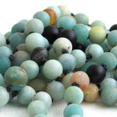 Matte Black Gold Amazonite Hand Knotted 108 Mantra Style Mala