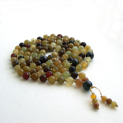 Soocho Jade and Garnet Hand Knotted 108 Mala
