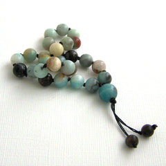 Black Gold Amazonite Hand Knotted Pocket Mala