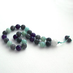Labradorite Amazonite Amethyst and Moonstone Hand Knotted Pocket Mala