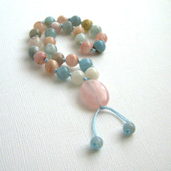 Morganite Moonstone Rose Quartz Hand Knotted Pocket Mala