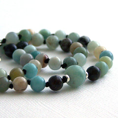 Black Gold Amazonite Mala Style Necklace