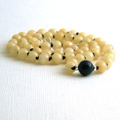 Calcite and Dumortierite Mala Style Necklace