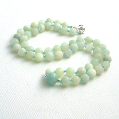 New Jade and Amazonite Mala Style Necklace