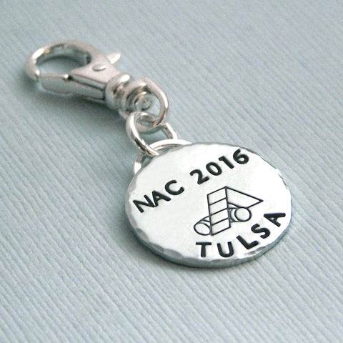 AKC National Championship Charm or Crate Tag - Hand Stamped Sterling Silver