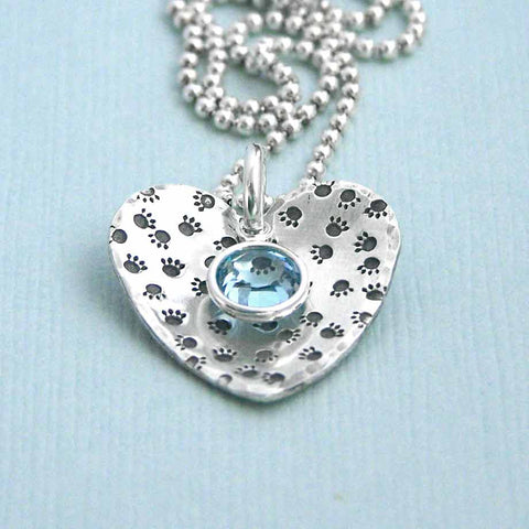 Paw Prints on My Heart - Sterling Silver Birthstone Necklace