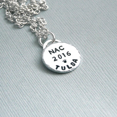 AKC National Championship Little Charm or Crate Tag - Hand Stamped Sterling Silver