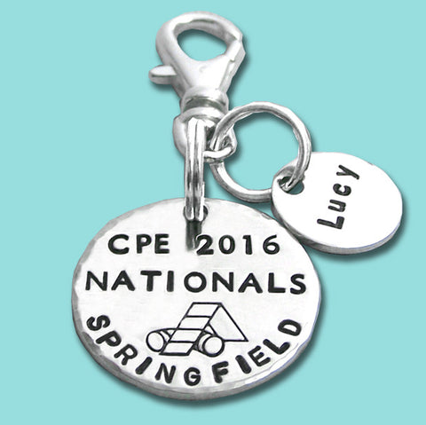 CPE National Championship Charm or Crate Tag with Personlized Disc - Hand Stamped Sterling Silver
