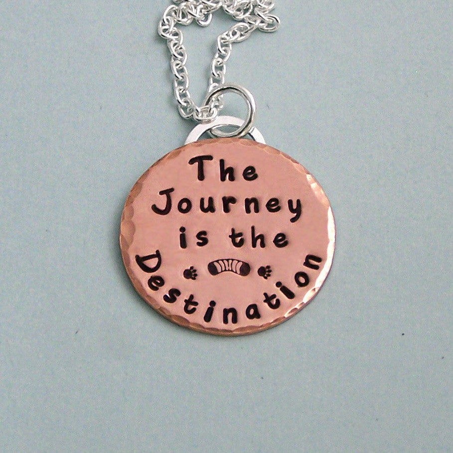 The Journey is the Destination - Hand Stamped 14K Rose Gold Filled and Sterling Silver Necklace
