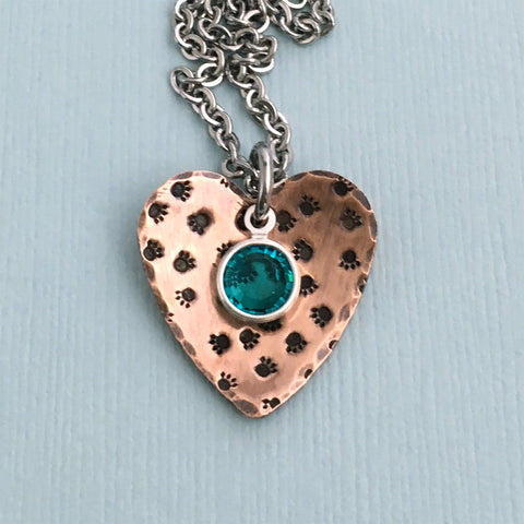 Paw Prints on My Heart - Copper Birthstone Necklace - Dog Lover Gift