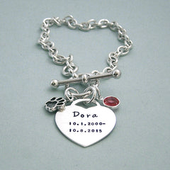 Remembrance Toggle Bracelet with Paw Charm and Swarovski Crystal Birthstone