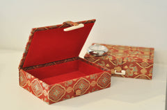 Vermillion silk jewelry box