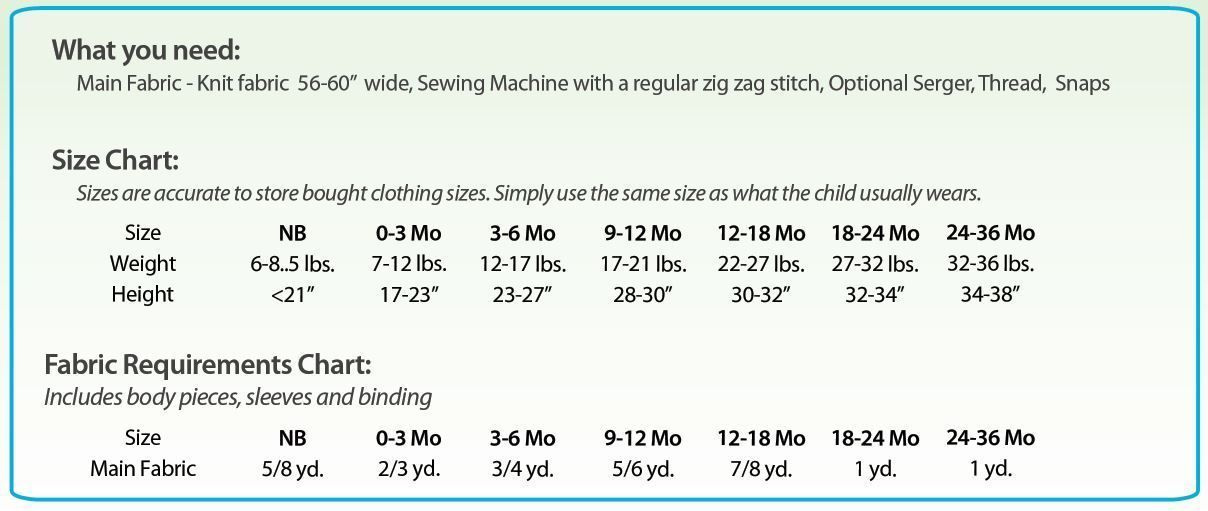 Baby jumpsuit requirements