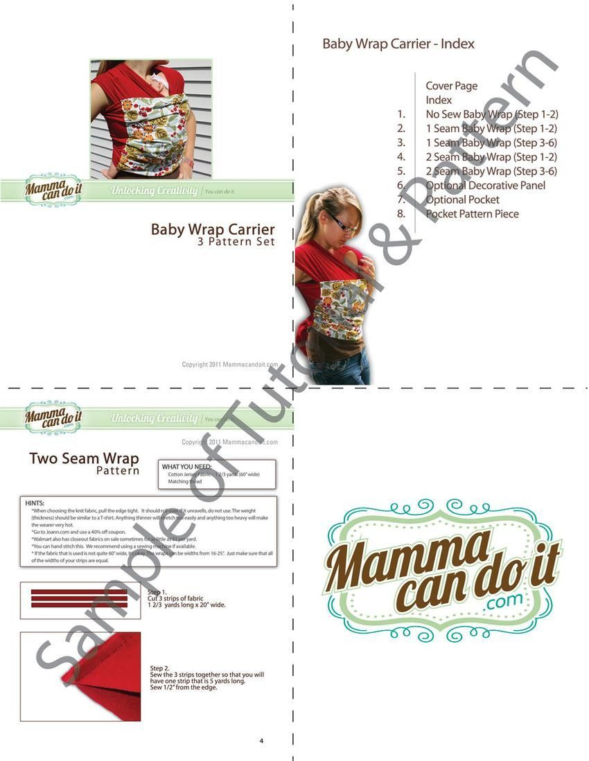 Example page of Baby Wrap Sling Sewing tutorial