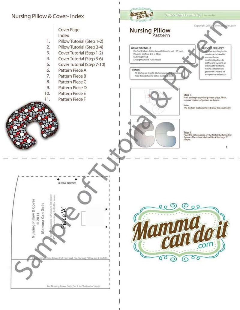MammaCanDoIt Sewing Pattern Nursing Pillow Sewing Pattern