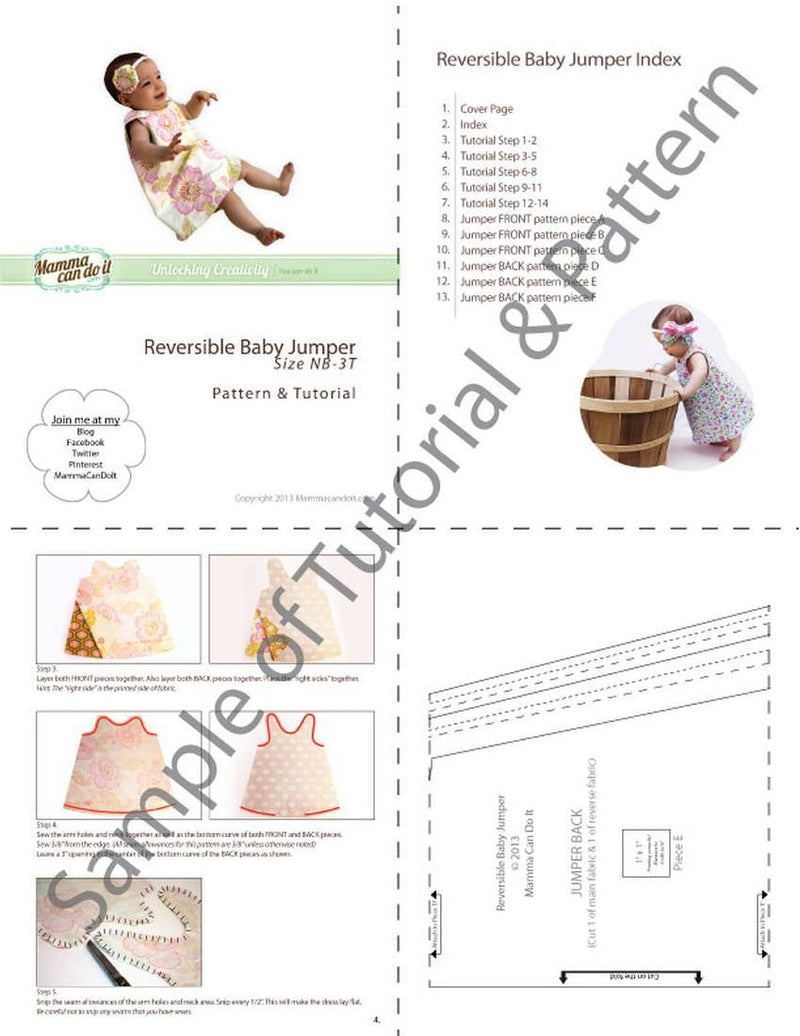 MammaCanDoIt Sewing Pattern Baby Jumper Pattern  | Reversible and Easy