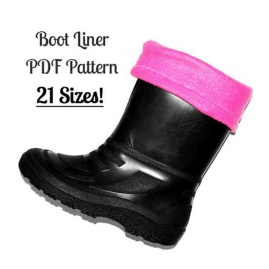 Pink Boot Liners in a boot