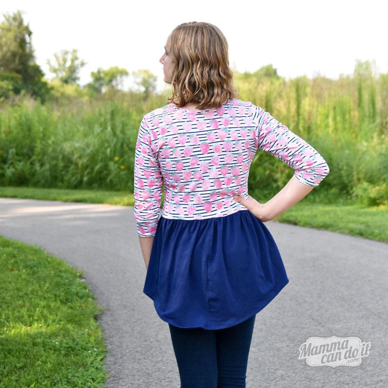 MammaCanDoIt Sewing Pattern Relaxed Peplum Top | Women's Sizes 00-20