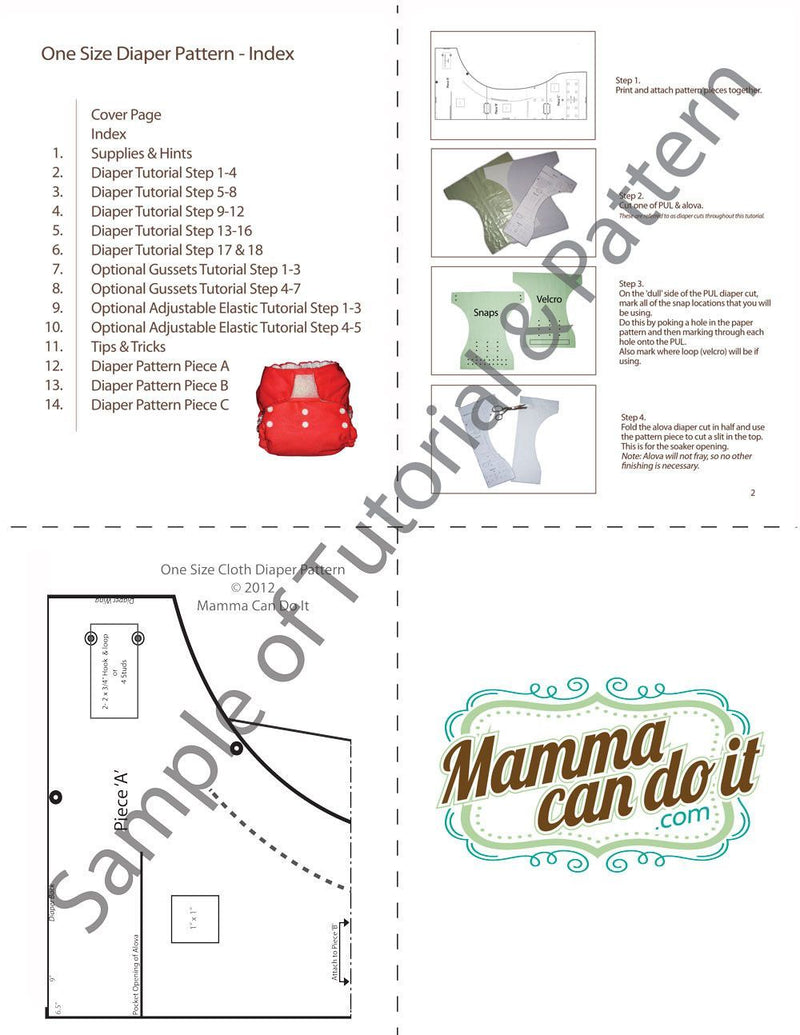 MammaCanDoIt Sewing Pattern Diaper Sewing Pattern | One Size Fits All