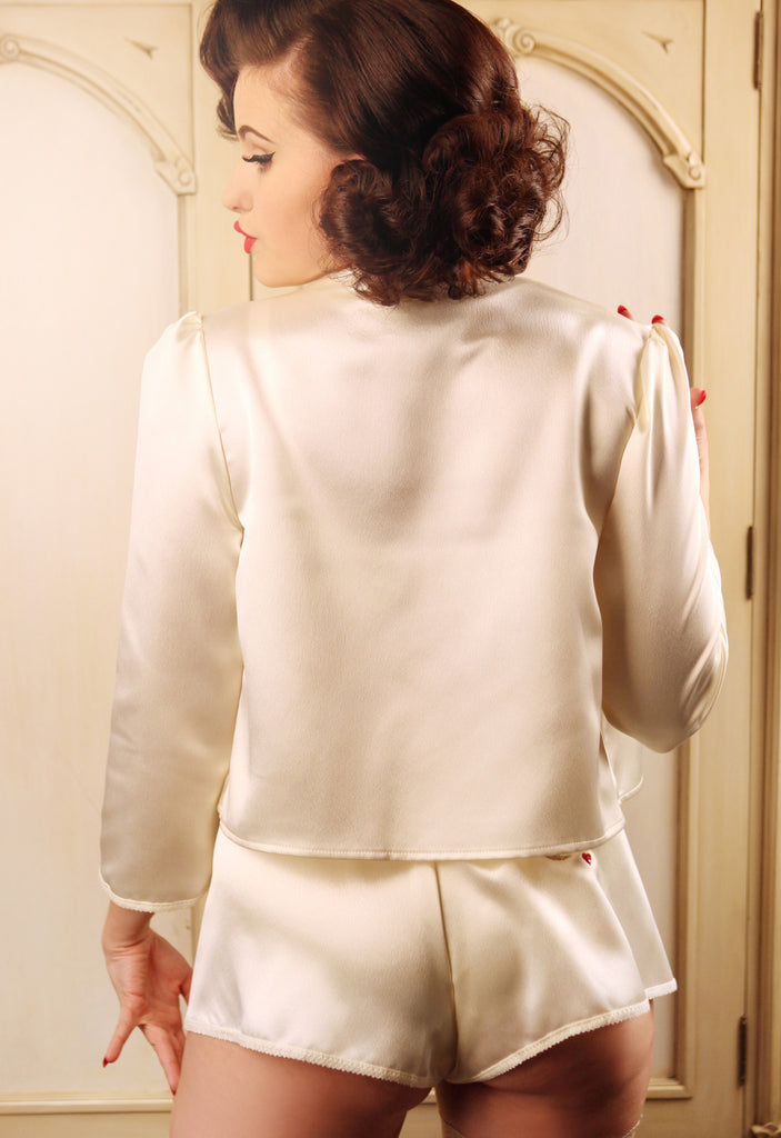 Glitter and the Moon Cream bed jacket and French Knicker back