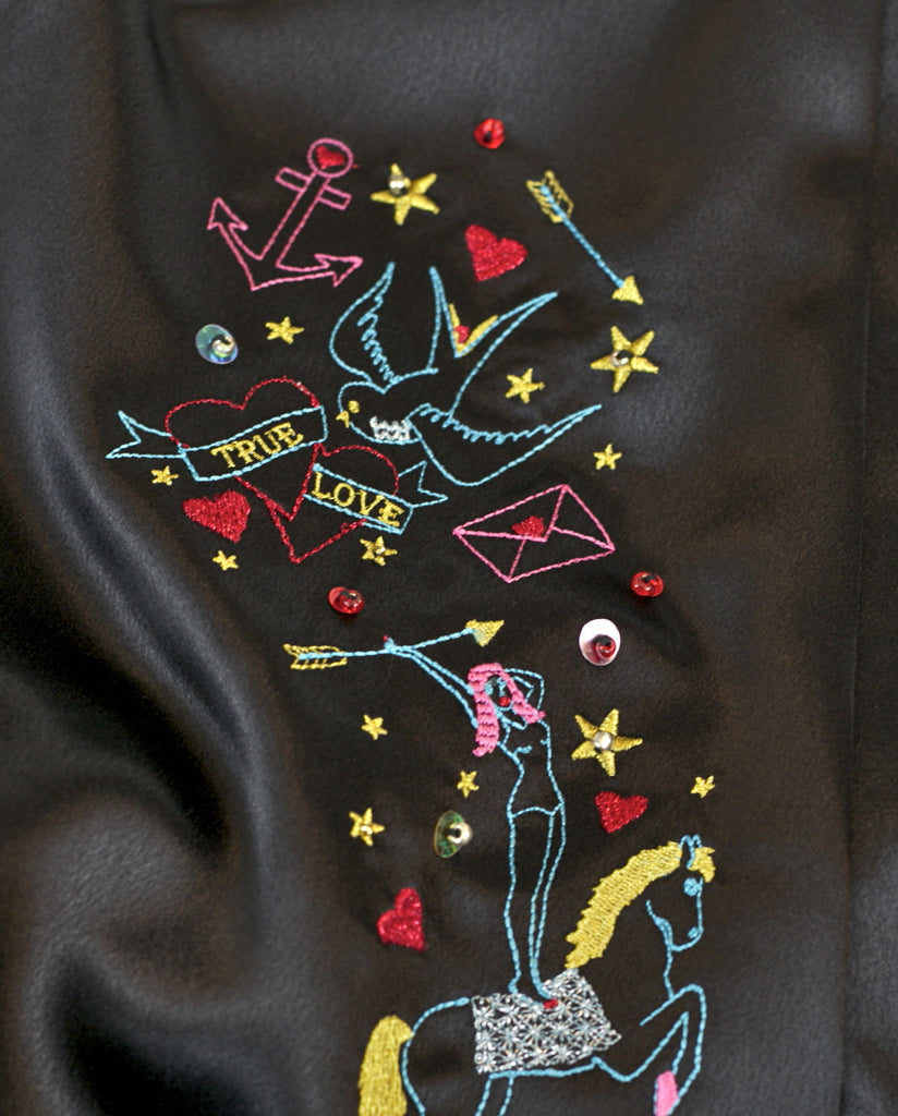 Glitter and the Moon Lucky Star embroidery in black