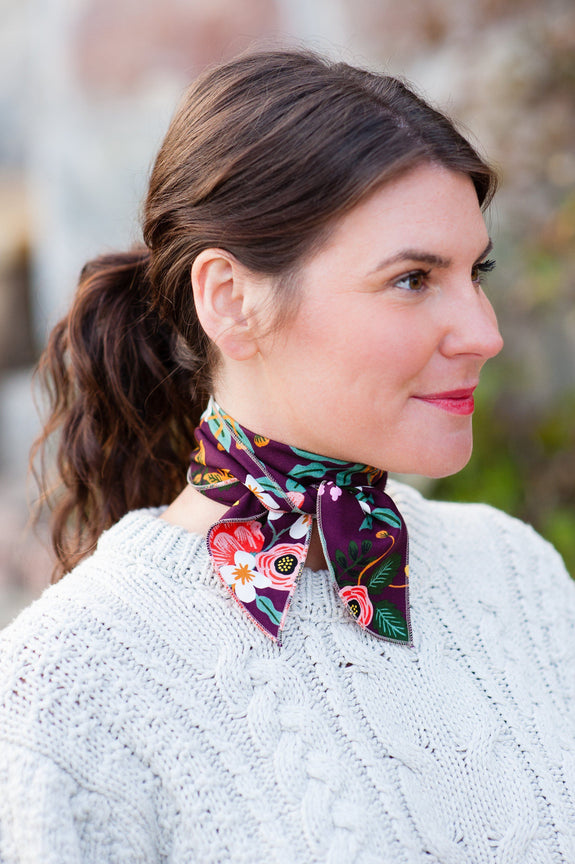 The Neckerchief, Rifle print wine floral