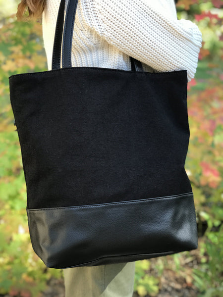 Best Vegan Leather Black Tote Bag - Cruelty-Free Accessory Brand