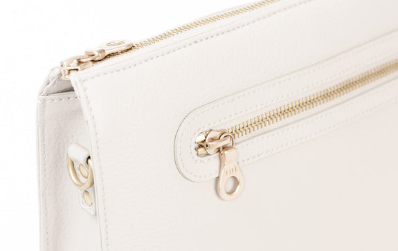 The Pixley in white is the best luxury vegan handbag; a cruelty-free, high end accessory by Filbert.