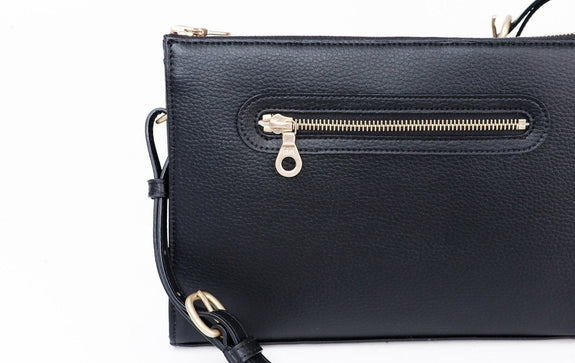 The Pixley in black is the best luxury vegan handbag; a cruelty-free, high end accessory by Filbert.