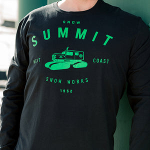 black long sleeve on a man with green text saying snow summit