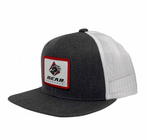 Grey and White Bear Mountain Youth 6 Panel Claw Patch Trucker