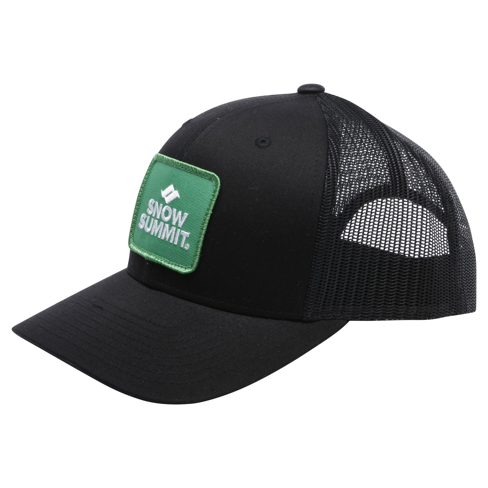 Black Snow Summit with Green Patch Logo Trucker