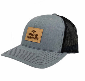 Heather Grey Snow Summit Trucker Hat with Leather Patch Logo