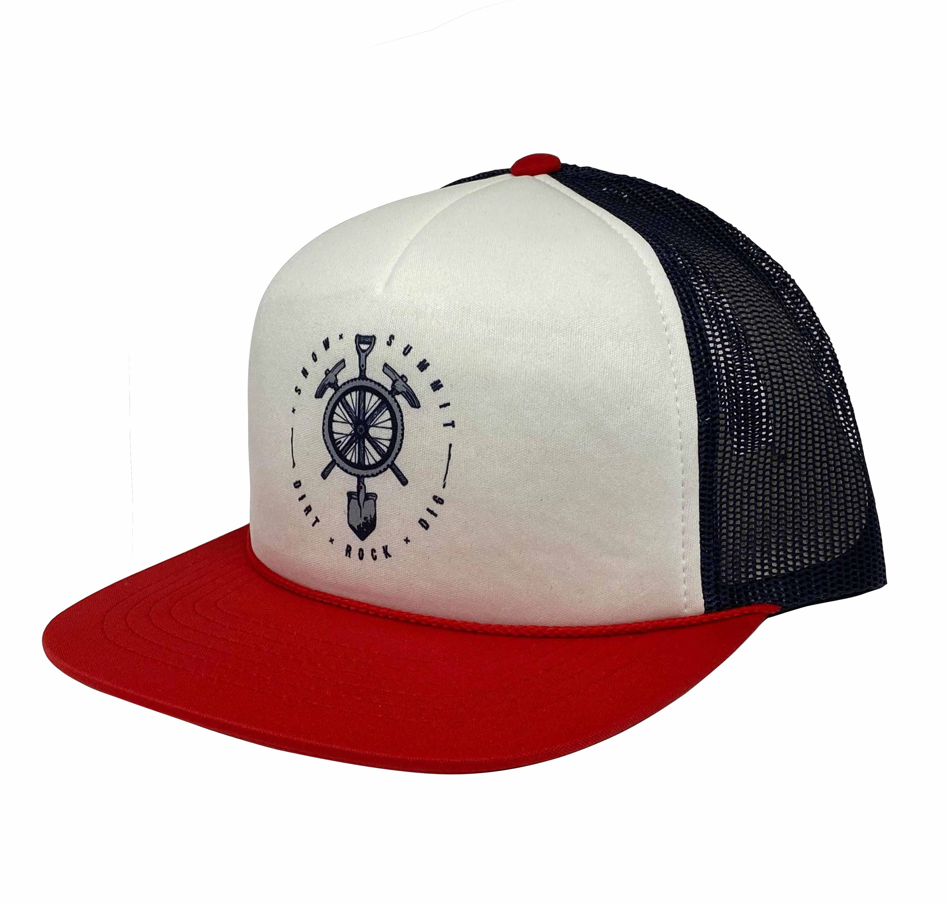 White and Navy Snow Summit branded trucker hate