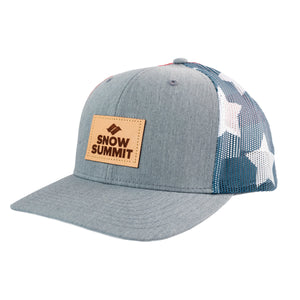 Flag Patterned Snow Summit Trucker Hat with Leather Patch Logo