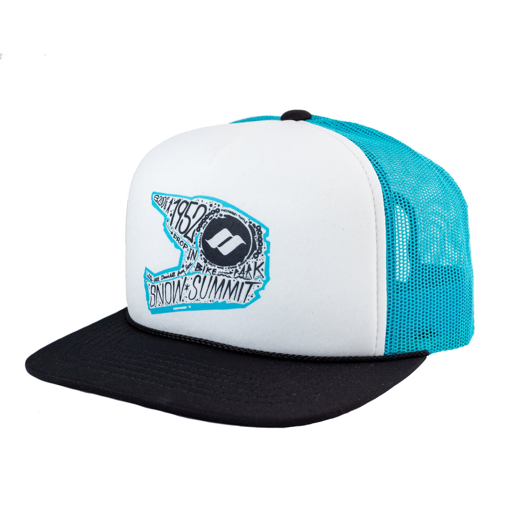 Blue Snow Summit Trucker Hat with printed bike helmet logo