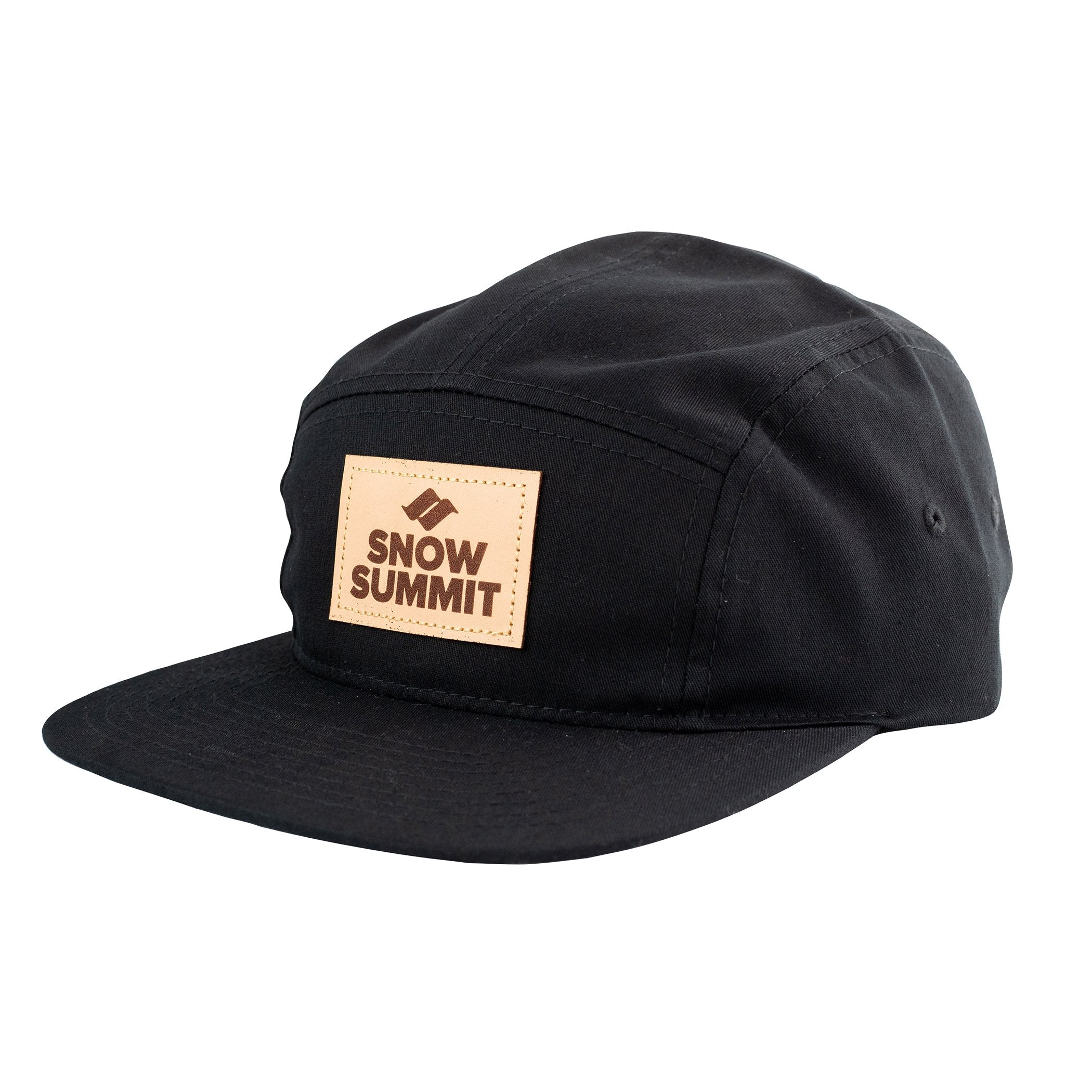 Black 5 Panel Cap with Snow Summit Leather Patch Logo