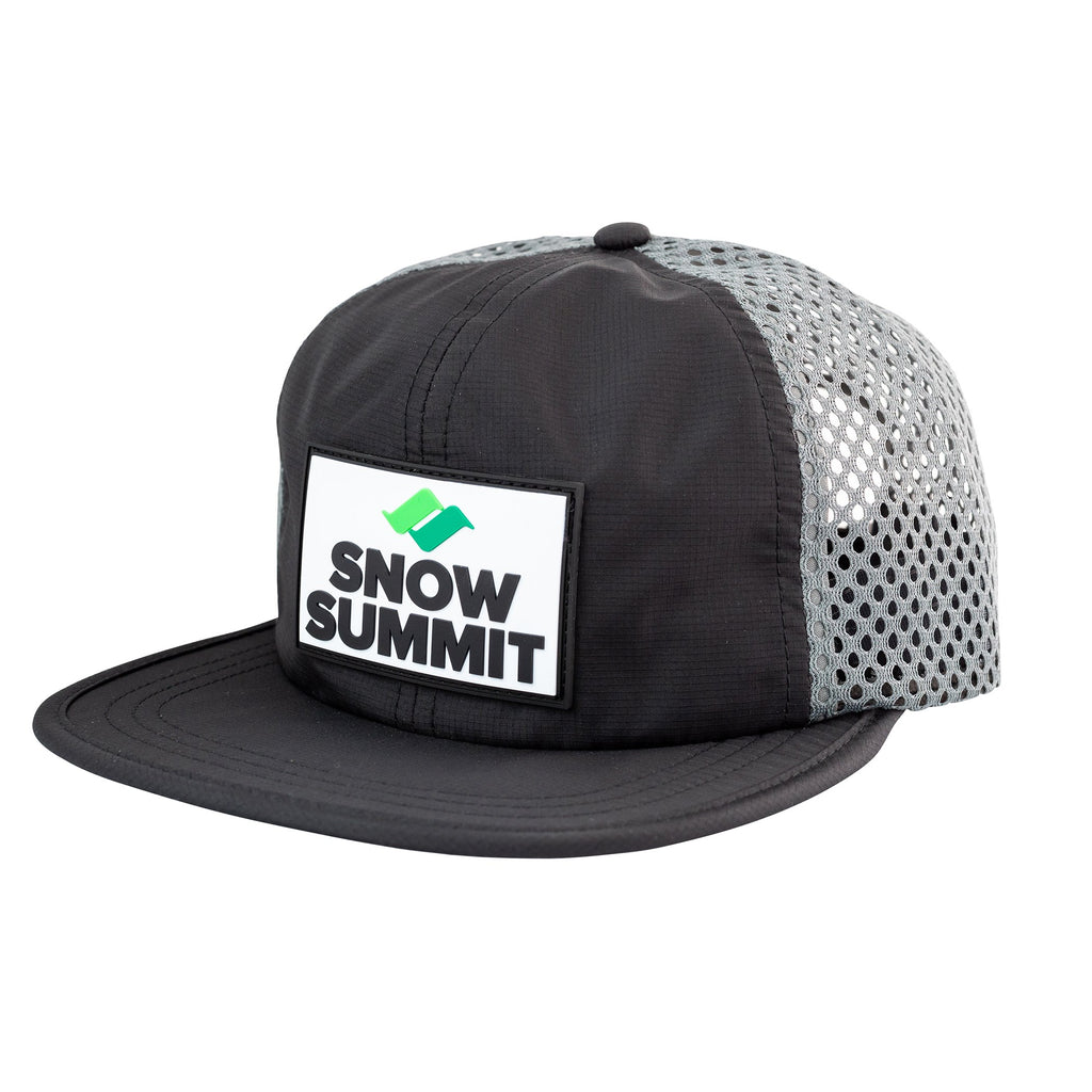 Black/Charcoal Snow Summit Perforated Cap with Rubber Patch Logo