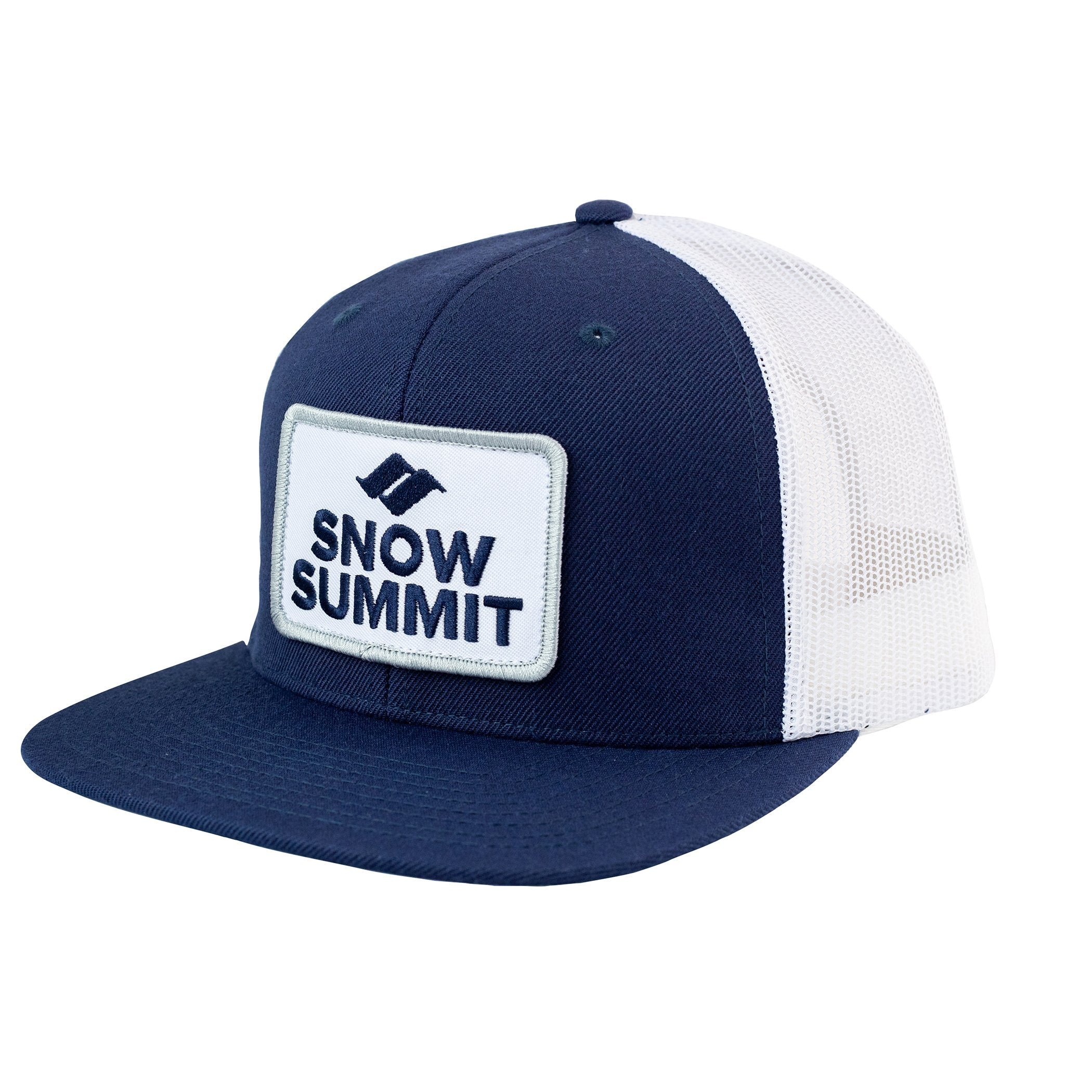 Navy/White Snow Summit Flat Bill Trucker Hat with Emboidered Patch Logo