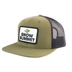 Olive/Black Snow Summit Flat Bill Trucker Hat with Emboidered Patch Logo